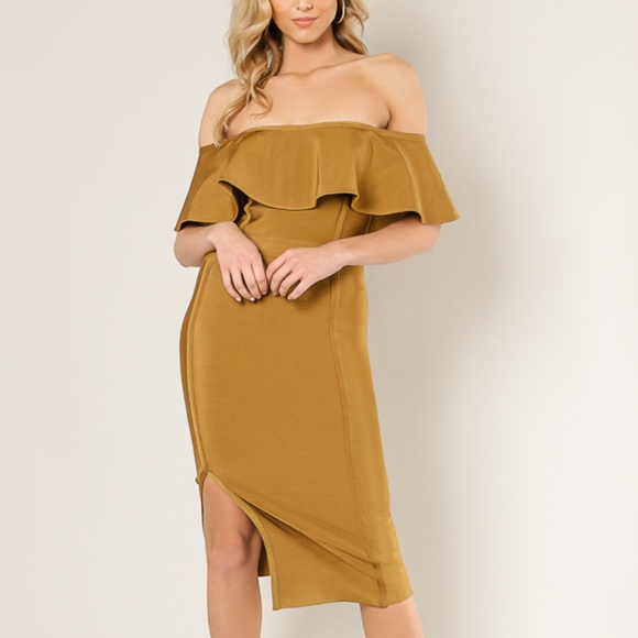 2832736365fd Wow Couture Off Shoulder Slit Yellow Dress
